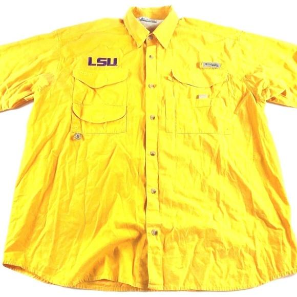 8a8ea3836e121 Columbia Other - Columbia PFG LSU Tigers Yellow Button Shirt XL P11